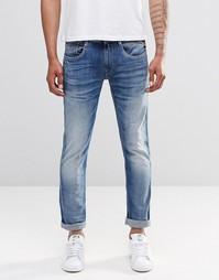 Суперэластичные джинсы слим с выбеленным эффектом Replay Anbass