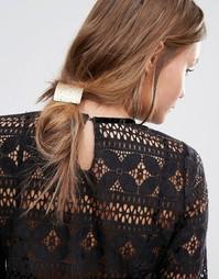 Резинка для волос с прямоугольной пластиной DesignB London - Золотой