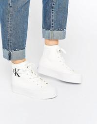 Белые парусиновые высокие кроссовки Calvin Klein Jeans Zabrina - Белый