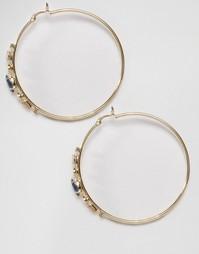 Серьги-кольца с темно‑синим камнем Johnny Loves Rosie Aria