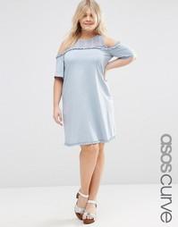 Свободное платье с открытыми плечами и ажурной отделкой ASOS CURVE