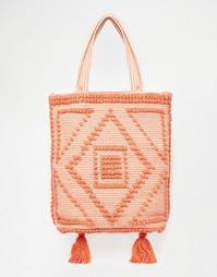 Пляжная сумка с кисточками и вышивкой ASOS - Мульти