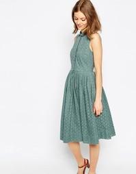 Платье-рубашка миди с ажурной вышивкой ASOS - Мульти
