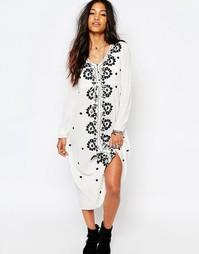 Платье миди с вышивкой Boohoo - Слоновая кость