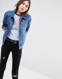 Умеренно выбеленная синяя джинсовая куртка с ремешком сзади ASOS