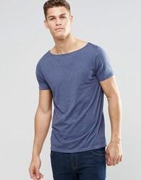 Синяя меланжевая футболка с вырезом лодочкой ASOS - Pitch blue marl