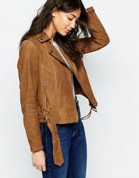 Замшевая байкерская куртка Muubaa Warren - Пепельно-коричневый