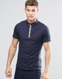 Темно-синяя футболка-поло с контрастной планкой на пуговицах BOSS Oran