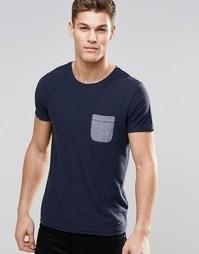 Темно-синяя футболка с контрастным карманом BOSS Orange - Темно-синий
