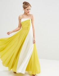 Платье макси в стиле колор блок на бретельках ASOS SALON - Мульти