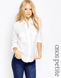 Приталенная саржевая рубашка ASOS PETITE - Белый