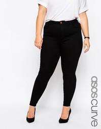 Супермягкие джинсы скинни с высокой талией ASOS CURVE Ridley - Черный