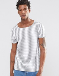 Полосатая футболка с вырезом лодочкой ASOS