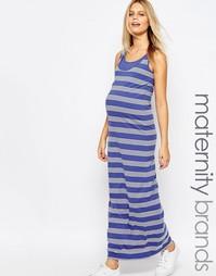Полосатое платье макси для кормящих мам без рукавов Mamalicious Mama.Licious