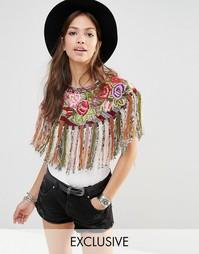 Кейп с бахромой и разноцветной цветочной вышивкой Hiptipico Handmade