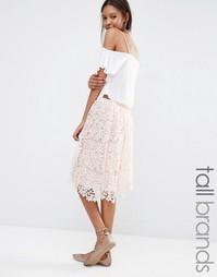 Пышная кружевная юбка миди Missguided Tall - Peach