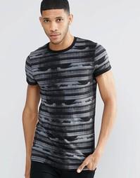 Длинная эластичная футболка с принтом ASOS