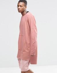 Свитшот с эффектом поношенности Granted - Розовый