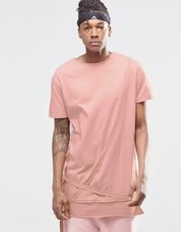 Удлиненная футболка с ремешками Granted - Розовый
