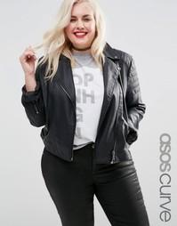 Байкерская куртка с окантовкой ASOS CURVE Ultimate - Черный