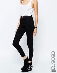 Черные джинсы скинни с завышенной талией ASOS TALL Ridley