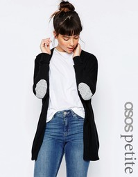 ASOS PETITE Swing Cardigan with Grey Oval Elbow Patch - Черный