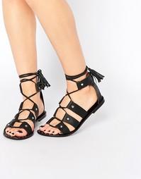 Кожаные сандалии-гладиаторы Park Lane - Черный