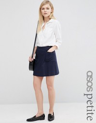 Льняная юбка-трапеция с карманом ASOS PETITE - Темно-синий