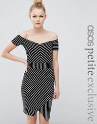 ASOS PETITE Bardot Asymmetric Bodycon Dress in Stripe - Черно-белый