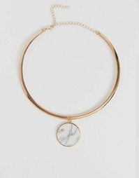 Ожерелье с круглой мраморной подвеской Monki - Золотой