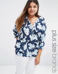 Блузка с цветочным принтом Junarose Azhari - Темно-синий