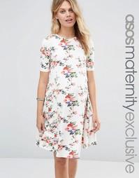 Свободное платье для беременных с цветочным принтом и короткими рукава Asos Maternity