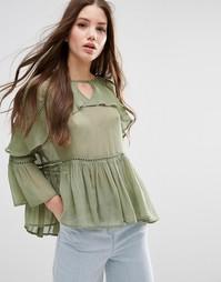Блузка с рюшами ASOS - Хаки