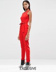 Комбинезон с высокой горловиной и завязкой Lavish Alice - Красный