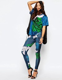 Леггинсы с 3 полосками и цветочным принтом Adidas Originals - Мульти