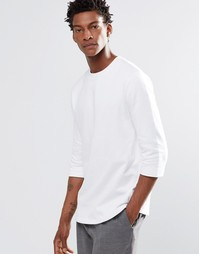 ASOS Sweatshirt With Half Sleeve In White - Белый