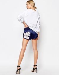 Шорты с 3 полосками и цветочным принтом Adidas Originals - Мульти