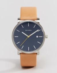 Кварцевые часы 40 мм с коричневым кожаным ремешком Skagen Hagen