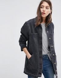 Черная выбеленная джинсовая куртка с удлиненным краем ASOS