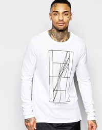 Белая футболка с длинными рукавами и принтом Nike 777873-100 - Белый
