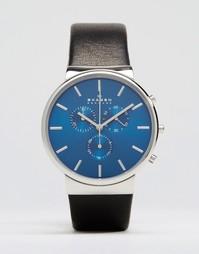 Часы-хронограф 40 мм с черным кожаным ремешком Skagen Ancher - Черный