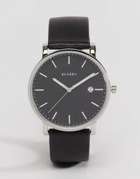 40 мм кварцевые часы с черным кожаным ремешком Skagen Hagen - Черный