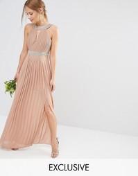 Плиссированное платье макси TFNC WEDDING - Серо-коричневый