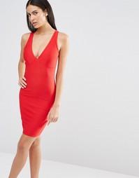 Облегающее платье с глубоким вырезом Missguided - Красный