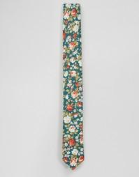 Хлопковый галстук скинни с цветочным принтом Noose & Monkey - Зеленый