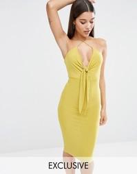 Платье миди с завязкой спереди Club L - Охра