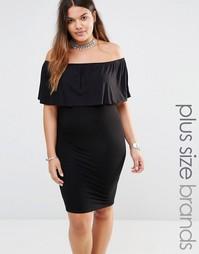 Платье с оборкой Missguided Plus - Черный