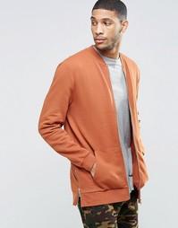 Длинная трикотажная куртка‑пилот с молниями по бокам ASOS