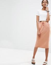 Трикотажная юбка-карандаш со шнурком на талии ASOS - Лосось