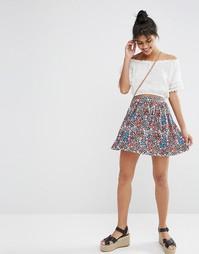 Короткая расклешенная юбка с цветочным принтом ASOS - Мульти
